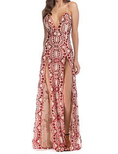baratos Vestidos de Festa-Mulheres Elegante Bainha Vestido Sólido / Geométrica Longo