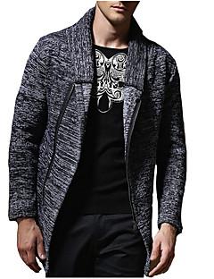 tanie Męskie swetry i swetry rozpinane-Męskie Codzienny Podstawowy Solidne kolory Długi rękaw Regularny Sweter rozpinany Szary L / XL / XXL