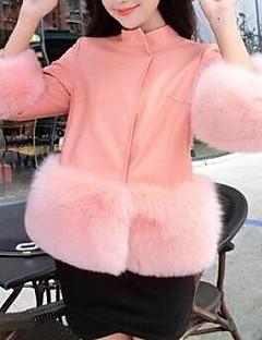 Χαμηλού Κόστους Γυναικείες Γούνες & Δέρμα-Γυναικεία Γούνινο παλτό Βασικό - Μονόχρωμο