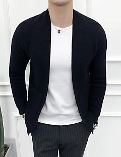 baratos Suéteres & Cardigans Masculinos-cardigan slim de manga comprida para homem - colorido sólido