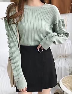 billige Kvinde Toppe-Dame I-byen-tøj Ensfarvet Langærmet Tynde Normal Pullover Lilla / Lysegrøn / Kakifarvet En Størrelse