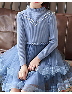 cheap Ships In 24 Hours-Kids Girls' Basic Solid Colored Long Sleeve Cotton / Polyester Dress Blue