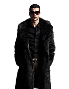 cheap Men's Jackets & Coats-Men's Sophisticated Winter Plus Size Maxi Coat, Solid Colored Notch Lapel Long Sleeve Faux Fur Black / Brown XXL / XXXL / 4XL