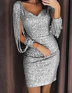 Χαμηλού Κόστους Φορέματα NYE-Γυναικεία Βασικό Λεπτό Εφαρμοστό Φόρεμα Πούλιες / Φούντα Πάνω από το Γόνατο Λαιμόκοψη V