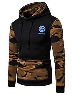 baratos Abrigos e Moletons Masculinos-hoodie manga comprida masculina - camuflagem com capuz luz azul m
