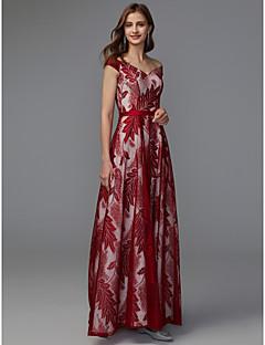 billige Mønstrede og ensfargede kjoler-A-linje V-hals Gulvlang Blonder Formell kveld Kjole med Belte / bånd av TS Couture®