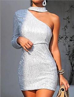 Χαμηλού Κόστους Φορέματα NYE-Γυναικεία Βασικό Εφαρμοστό Φόρεμα - Μονόχρωμο Πάνω από το Γόνατο
