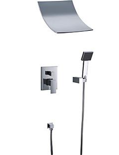 tanie Baterie prysznicowe Sprinkle®-Lightinthrbox Baterie prysznicowe Sprinkle® - Nowoczesny Chrom Wodospad / Szeroko rozstawiona / Ścienna Pięć otworów