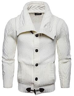 tanie Męskie swetry i swetry rozpinane-Męskie Codzienny Podstawowy Solidne kolory Długi rękaw Regularny Pulower, Golf Jesień Biały / Czarny / Szary L / XL / XXL