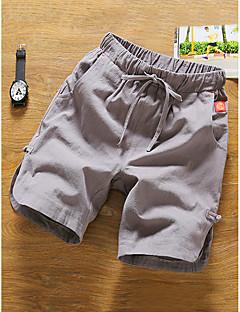 billige Herrebukser og -shorts-Herre Vanlig Bomull / Lin Chinos / Shorts Bukser Ensfarget / Sommer