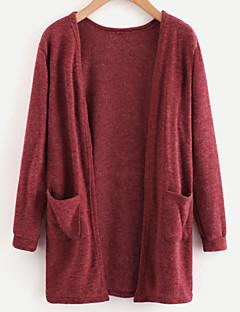 tanie Swetry damskie-Damskie Codzienny Podstawowy Solidne kolory Długi rękaw Regularny Sweter rozpinany, Z odsłoniętymi ramionami Wino / Jasnoniebieski / Khaki M / L / XL