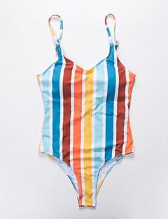 billige Bikinier og damemote 2017-Dame Grunnleggende Stikkende halslinje Regnbue Høy Midje En del Badetøy - Stripet S M L / Sexy