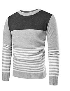 baratos Suéteres & Cardigans Masculinos-Homens Diário Moda de Rua Estampa Colorida Manga Longa Padrão Pulôver, Decote Redondo Cinzento Escuro / Cinza Claro M / L / XL