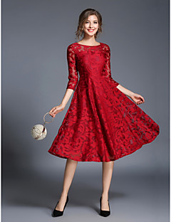 cheap Designers Collections-Women's Party / Daily Street chic Sheath / Skater Dress - Jacquard Fall Blue Red L XL XXL
