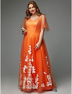 billige Mønstrede og ensfargede kjoler-A-linje V-hals Gulvlang Tyll Skoleball Kjole med Appliqué av TS Couture® / Illusjon