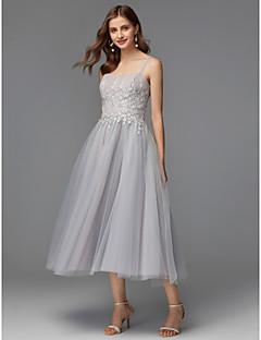 billiga Balklänningar-A-linje Smala axelband Telång Satäng / Jersey Bal Klänning med Applikationsbroderi av TS Couture®