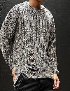 tanie Męskie swetry i swetry rozpinane-Męskie Codzienny Solidne kolory Długi rękaw Regularny Pulower Czarny / Szary XXXL / 4XL / XXXXXL