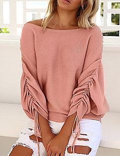 tanie Swetry damskie-Damskie Codzienny Podstawowy Solidne kolory Długi rękaw Regularny Pulower Rumiany róż / Szary / Wino M / L / XL