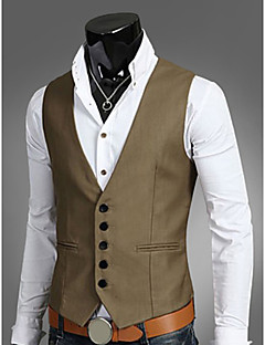 cheap England Retro Style-Men's Work Plus Size Vest, Solid Colored Fantastic Beasts Sleeveless Polyester Black / Brown / Navy Blue XL / XXL / XXXL / Business Formal / Slim