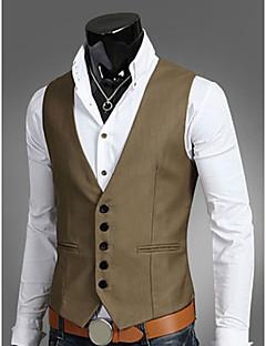 hesapli Erkek Blazerları ve Takım Elbiseleri-Erkek Çalışma Büyük Bedenler Vesta, Solid Fantastik Canavarlar Kolsuz Polyester Siyah / Kahverengi / Koyu Mavi XL / XXL / XXXL / İş Dünyası Resmi / İnce
