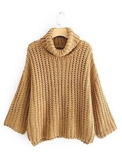 tanie Swetry damskie-Damskie Codzienny Solidne kolory Długi rękaw Regularny Pulower Żółty S / M / L