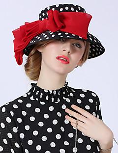 billiga Lolitamode-Elizabeth Den underbara fru Maisel Felt hattar Kentucky Derby Hat hatt damer Vintage Femtiotal Dam Svartvit Prickig Rosett Keps Chiffong Kostymer