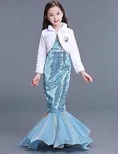 billige Halloweenkostymer-The Little Mermaid Aqua Princess Kjoler Jente Barne Havfrue og Trompet Kjole Slip Halloween Karneval Maskerade Festival / høytid Drakter Lyseblå Havfrue