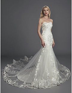 cheap LAN TING BRIDE®-Mermaid / Trumpet Strapless Cathedral Train Lace / Tulle Made-To-Measure Wedding Dresses with Appliques / Lace by LAN TING BRIDE® / Sparkle & Shine