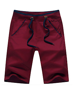 cheap Men's Bottoms-Men's Cotton Slim Straight / Loose / Shorts Pants - Solid Colored Red / Spring / Weekend