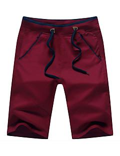 billige Herrebukser og -shorts-Herre Bomull Tynn Rett / Løstsittende / Shorts Bukser Ensfarget / Vår / Helg / Asiatisk størrelse