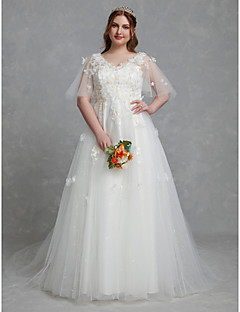 billiga Plusstorlek brudklänningar-A-linje V-hals Hovsläp Spets / Tyll Bröllopsklänningar tillverkade med Spetsinlägg av LAN TING BRIDE® / Vacker i svart