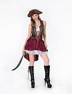 billige Voksenkostymer-Pirat Dame Voksen Voksne Halloween Jul Jul Halloween Karneval Festival / høytid Polyester Drakter Rød Ensfarget Jul