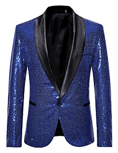 cheap Men's Clothing-Men's Party / Club Luxury All Seasons Regular Blazer, Solid Colored Shawl Collar Long Sleeve Polyester Sequins Silver / Wine / Royal Blue L / XL / XXL
