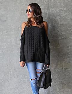 baratos Suéteres de Mulher-Mulheres Diário Sólido Manga Longa Padrão Pulôver Preto / Rosa / Cinzento M / L / XL