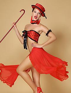 tanie Cosplay i kostiumy-Hiszpańska dama Spódnica Biustonosz samba Damskie Dla dorosłych Flamenco Halloween Karnawał Bal maskowy Festiwal/Święto Tiul Chinlon Stroje Czarny / Czerwony Koronka