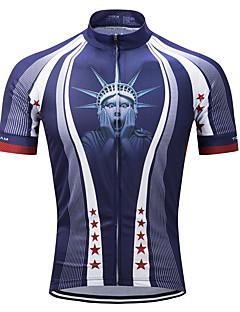 billige Sykkelklær-TELEYI Herre Kortermet Sykkeljersey - Blå Mesterværker Stjerner Sykkel Jersey, Fort Tørring Polyester / Elastisk