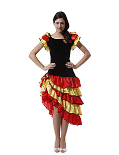hesapli Cadılar Bayramı Kostümleri-İspanyol Leydi Elbiseler Kadın's Yetişkin Flamenko Cadılar Bayramı Karnaval Maskeli Balo Festival / Tatil Tül Polyester Kıyafetler Siyah Kırk Yama