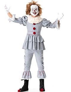 billige Halloween- og karnevalkostymer-Burlesk / Klovn Sirkus Party-kostyme Herre Dame Voksne Artig & Underspillet Halloween Jul Halloween Karneval Festival / høytid Nylon Tactel Drakter Grå Ensfarget