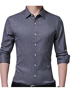 رخيصةأون قمصان رجالي-رجالي قطن قميص قياس كبير نحيل الأعمال التجارية لون سادة, عمل / كم طويل