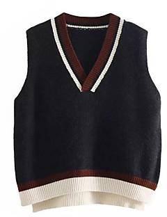 tanie Swetry damskie-Damskie Codzienny Solidne kolory Bez rękawów Regularny Pulower Beżowy / Szary Jeden rozmiar