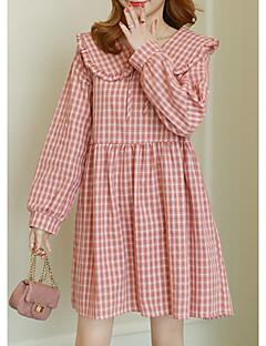baratos Vestidos-Mulheres Básico Bainha Vestido Houndstooth Acima do Joelho