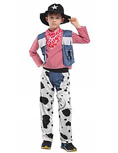 billige Halloweenkostymer-West West Cowboy Cowboy Kostymer Gutt Barne Drakter Aktiv Jul Halloween Karneval Festival / høytid Polyester Drakter Hvit Jeans