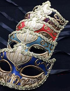 billige Cosplay og kostumer-Venetianske maske / Halvmaske Fest / Aften / Vintage Azurblå / Rød / Blå Plastik Fest Cosplay Tilbehør Halloween / Karneval / Mardi Gras Kostumer