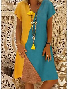 povoljno Ženske haljine-ženska dnevna do koljena linija haljina v vrat pamuk bijela žuta bež s m l xl