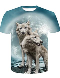 رخيصةأون الكنزات الرجالية-رجالي تيشرت أناقة الشارع / بانغك & قوطي طباعة ذئب كواكب / ألوان متناوبة / حيوان