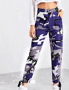 4a1460b952f dámské plátěné štíhlé kalhoty - geometrické fialové