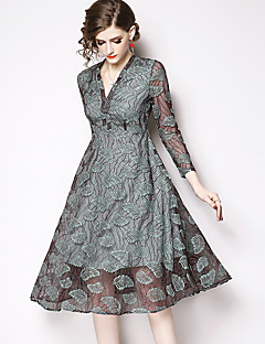 cheap Special Occasion Dresses-A-Line V Neck Knee Length / Court Train Lace Dress with Tier / Lace Insert by LAN TING Express