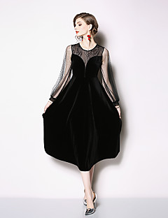 cheap Special Occasion Dresses-A-Line Jewel Neck Tea Length Lace Dress with Lace Insert by LAN TING Express