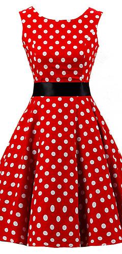 זול -עד הברך דפוס, מנוקד - שמלה גזרת A כותנה מידות גדולות וינטאג' שנות ה-50 ליציאה בגדי ריקוד נשים