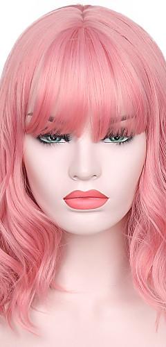 aee0b411e614 Syntetiska peruker Vattenvågor Kardashian Stil Med lugg Utan lock Peruk  Rosa Rosa Syntetiskt hår Dam Naturlig hårlinje / Med Bangs Rosa Peruk Korta